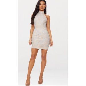 Ice Grey High Neck Lace Crochet Bodycon Dress